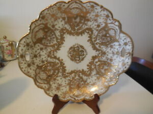 Heavy Gold Gilded Open Handle Pre Nippon Serving Dessert Platter