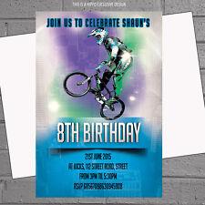Personalised BMX Bike Boys Childrens Birthday Party Invitations x 12 +envs H0071