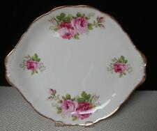 "AMERICAN BEAUTY Royal Albert China 10½  "" TAB HANDLED CAKE COOKIE PLATE England"