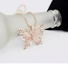 Fashion Womens Lady Rose Gold Opal Butterfly Pendant Necklace Sweater Chain Hot