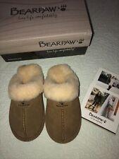 Bearpaw Loki II Genuine Sheepskin  Fur Lined  Slipper Hickory Women Size 7 New