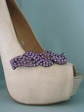 2 Purple Diamante Ribbon Style Clips for Shoes