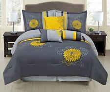 7Pc King Grey / Yellow Embroidered Pin Tuck Comforter Set Bedding