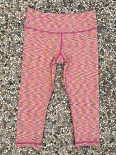 SCORPIO SOL Women's Sz S Pink Orange Static Cropped Leggings Yoga Running NWOT