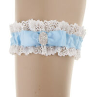 Diamante Blue Lace Bridal Garter with Rhinestone Wedding Bridal Fancy Dress
