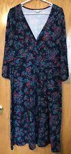 Boden Women's 3/4 Sleeve Bright Floral Dress Dark Purple UK 22L US 18L