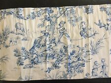 2 Pair FRENCH Toile Country Valance Lined Rod Pocket Blue Straight & Swag