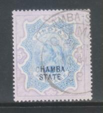 INDIA CHAMBA STATE QUEEN VICTORIA 1895, 5Rs. SG21 FINE USED STAMP RARE.