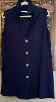 SOFT SURROUNDINGS Navy Blue Button Down Tunic W/ Ruffled Stand Up Neck! Size M