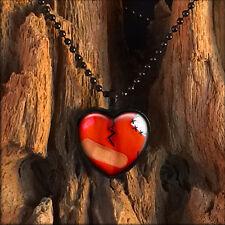 Love Hurts Broken Zombie Heart Black Horror Emo Valentine Glass Pendant Necklace