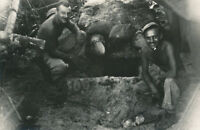 WWII 1940's USAAF Biak Air Field Photo GI's at Japanese gun emplacement