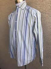 BANANA REPUBLIC- Blue- White Green Striped Shirt - Men's Medium- Long Sleeve C40