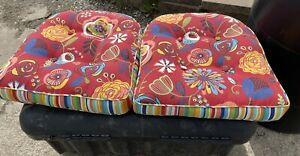 "Pier 1 Imports Outdoor 4"" THICK Seat Cushions Red Floral Set of 2"