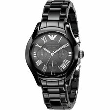 EMPORIO ARMANI AR1401 CERAMIC BLACK LADIES/WOMENS CHRONOGRAPH WRIST WATCH.