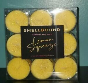 LEMON SQUEEZE * 100% Soy Wax Tealight Candles * (9) Clean Burning Tea Lights