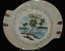Vintage Florida Souvenir Ashtray Two Flamingos Palm Trees Beach Gold Tobacciana