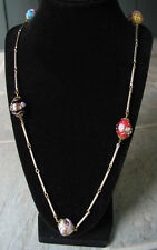 Vintage VENETIAN GLASS BEAD WITH GOLD TONE CHAIN LINK NECKLACE~ITALIAN MURANO