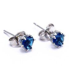 1 Paire Clous d'Oreille  mode or blanc Bijoux Bleu Royal coeur en strass 4mm WT