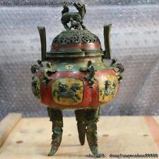 Chinese Bronze Copper Cloisonne Enamel Foo Dog Lion Kylin Incense Burner Censer