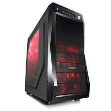 Circle Gaming Cabinet CC-821 Black With Transparent Side Panel & 3 LED Fans