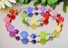 MODISCHES Collier / Halskette BUNT Glas Perlen + Acryl + Metall Röhrchen