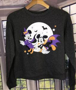 Disney Mickey M NWT Halloween Graphic Sweatshirt Minnie Gray Witch Women Juniors