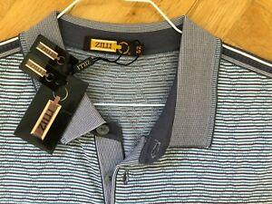 Zilli, Made in France Herren Polo Shirt, Gr 52 blau Neu mit Etikett 85% Seide !!