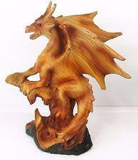 Dragon Wood Look Fantasy Mythical Resin Figurine Home Decor