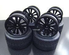 Front + Rear Rubber Radial Tire /w inserts + Rim for Traxxas 1/16 E-Revo