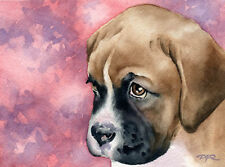BOXER PUPPY Dog Watercolor 8 x 10 ART Print Signed by Artist DJR