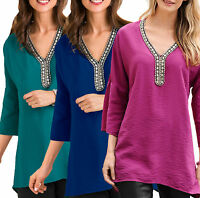 Ladies UK Plus Size 8 - 26 Pink Green Blue Long Silver Beaded Tunic Tops