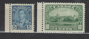 1935 #214 5¢ & #215 10¢ KING GEORGE V SILVER JUBILEE ISSUE F-VFNH