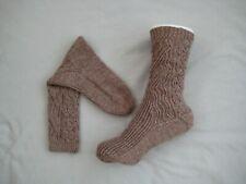 Handmade knitted socks, 100% wool socks, brown socks, size UK 4-5