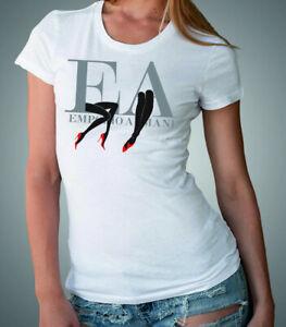 Emporio Armani White Women's Designer T-shirt E.A. Chest Size S*M Slim fit