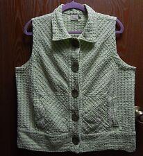 """Focus 46"""" Bust Women's XL Green Cotton Vest Wood Buttons"""