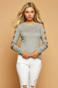 Women's Caged Ladder Cutout Long Sleeve Slim Fit Thermal Ribbed Knit Top Sweater