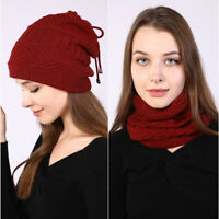 Warm Women Winter Hat Thick Knitted Beanie Style Outdoor Cap Pompom Scarf Warm