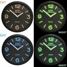 """12"""" Glow In The Dark Round Novelty Wall Clock Hanging Bedroom Home Office Quartz"""