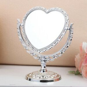Double Sided Make Up Cosmetic Shaving Mirror Heart-shaped Bath Table Free Stand