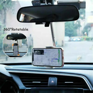 Universal 360° Car Rearview Mirror Mount Stand Mobile Phone GPS Holder Cradle