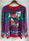 Blizzard Bay Ugly Christmas Holiday Sweater Sharks Reindeer Womens Large