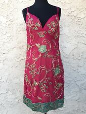 Raspberry Embroidered Silk Cocktail Dress