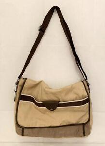 Fossil Canvas Laptop Messenger Bag Khaki Brown Travel Work Bag Pockets Strap