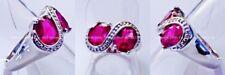 Eleganter Oval Pink Zirkonia Designer Ring Weißgold vergoldet 17,5 mm