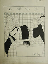 Dessin Original Encre Illustration ANDRÉ FOY 1900 Coiffeur Shampoing Coiffure