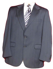 Men's Stafford Blue Worsted Wool Pinstriped 2 Button Suit Coat Size 42R