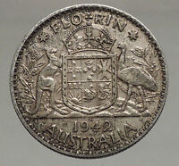 1942 AUSTRALIA - FLORIN Large SILVER Coin King George VI Coat-of-Arms i56700