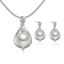 925 Stamped Sterling Silver Filled Pearl Necklace/Earrings set S399
