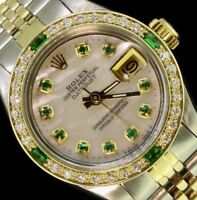 Rolex Ladies Datejust Oyster Gold Stainless Steel Diamond Dial Bezel Emeralds