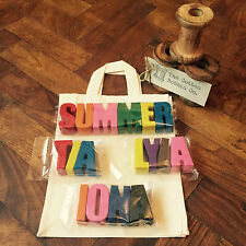 Chunky Alphabet letter Crayons personalised name gift party bag Cotton  Bag